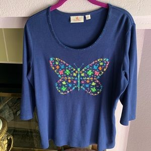 🦋QUACKER FACTORY EMBROIDERED BUTTERFLY TOP (M)🦋